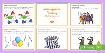 Fasching Sachaufgaben Multiplizieren : DIN A6 Karteikarten - Karneval, Fasching,  Mathematik, 1./2. Klasse, Sachaufgaben, Rechengeschichten, Multiplizieren,Germa