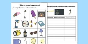 Obiecte care luminează - Fișă de lucru