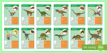 Dinosaurs Top Cards French - dinosaurs, numbers, dinosaures, chiffres, game,French
