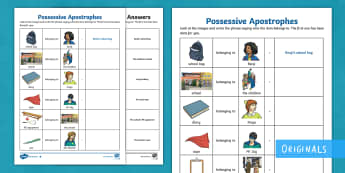 Our Teachers Are Superheroes Possessive Apostrophe Differentiated Activity Sheets - possessive apostrophe, SPaG, Punctuation,apostrophe, English