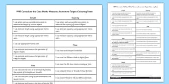 1999 Curriculum 5th Class Maths Measures Assessment Targets Colouring Sheet - roi, gaeilge, maths, curriculum, 1999