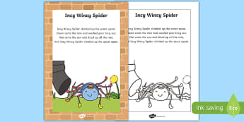 Incy Wincy Spider Nursery Rhyme Poster - rhymes, display, poems