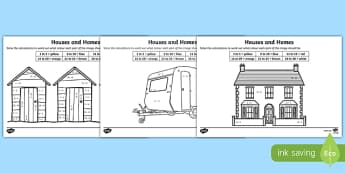 Houses and Homes Addition and Subtraction to 30 Colour by Number