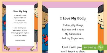 I Love My Body Poem - The Human Body, anatomy, body parts, health, poem