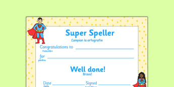 Super Spelling Award Romanian Translation - romanian, super spelling award, super, spelling, spell, how to spell, skills, certificates, award, well done, reward, medal, rewards, school, general, certificate, achievement