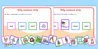 Silly Sentences - sentence making, sentence form, sentence game