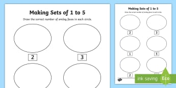 Junior Infants Making Sets of 1 to 5 Activity Sheet - maths, counting, groups, up to 5, first, numbers,