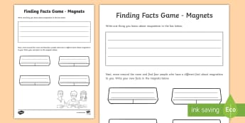 Magnets Fact Finding Activity Sheet - ACSSU076. Magnetic moves, poles, attraction, repulsion, magnetism,Australia