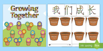 Growing Together Birthday Display Pack English/Mandarin Chinese - Grow, Months of the year, display,EAL