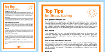 Care Staff Top Stress Busting Tips - care staff, stress, stress busting, top tips, care, staff