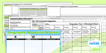Geography: Wonderful Weather KS1 Unit Assessment Pack