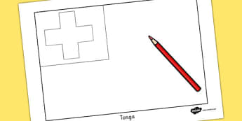 Tonga Flag Colouring Sheet - countries, geography, colouring