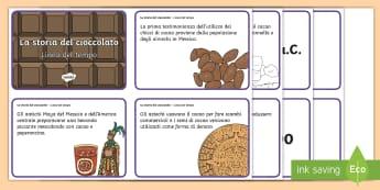 La storia della cioccolata in ordine temporale Attività - storia, lene, del, tempo, cioccolato, storico, materiale, scolastico, italiano, italian