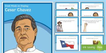 Great Minds On Display: Cesar Chavez Display Pack - Cesar Chavez, National Hispanic Heritage Month, Hispanic, Latino, Spanish, Civil Rights, Diversity