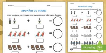 Adunări cu pirați Fișă de activitate - află termen necunoscut, matematică, adunări, scăderi, activități, jocuri, fișe,Romanian