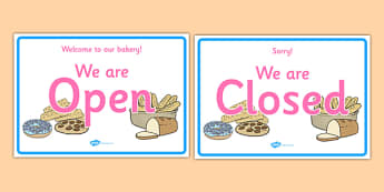 Bakery Open Closed Sign - bakery, role play, props, signs, labels