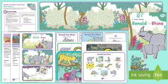 Ronald the Rhino Story Sack Resource Pack - KS1, EYFS, home learning, parents, story activities, homework, story, stories, fiction, endangered,