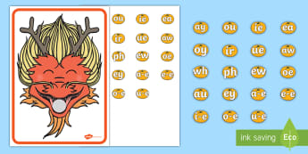 Feed a Chinese Dragon Phase 5 Phonics Activity  - EYFS, Early years, KS1, Key Stage 1, Chinese New Year, Chinese Dragon, Phonics, letters and sounds,