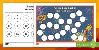Chinese Dragon Ordering 1 to 20 Cut and Stick Activity Sheet - Chinese New Year KS1. KS2, EYFS, Celebration, festivals, rooster, New Year, year of the rooster, cou