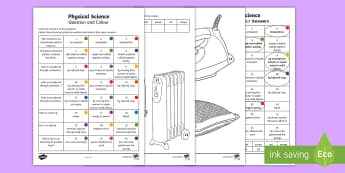 Year 3 Physical Science Questions and Colouring Worksheet / Activity Sheets - australian science, ACSSU049, convection, radiation, conduction, friction,Australia, worksheets