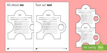All About Me Display Jigsaw Activity  Activity - English/French - Speak in sentences, using familiar vocabulary, phrases and basic language structures Primary Resourc