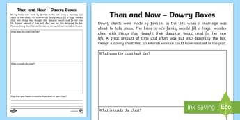 Dowry Chest Activity Sheet - uae, national day, dowry, customs, traditions, then, now, worksheet
