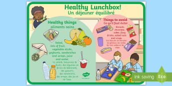 Healthy and Unhealthy Lunchbox Food Display Posters English/French - Healthy and Unhealthy Lunchbox Food Poster - lunchbox, poster, EAL French,French-translation