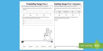 Probability Range 0 to 1 Activity Sheet - ACMSP117, Probability, Decimal Numbers, Chance, Chance Outcomes, worksheet, Likelihood, Possible Out