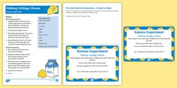 EYFS Making Cottage Cheese Science Experiment and Prompt Card Pack - On the Farm, milk, cheese, farm, dairy, cow, experiment, making cheese