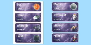 Space Topic Word Cards Polish Translation - polish, space, topic, word cards, word, cards, language