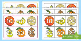 Fruit-Themed Number Bonds to 100 Multiples of 10 Bingo - Number Bonds to 100 Bingo - number bonds, 100, bingo, game, activity,number bondd, numberbonds, numb