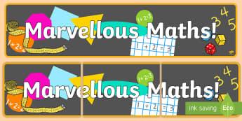 Marvelous Maths Display Banner - marvelous maths, maths, display, banner, display banner, display header, themed banner, banner for display, header
