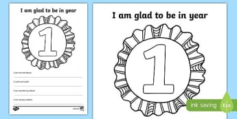 I am Glad to be in Year 1 Writing Frame - writing template, write