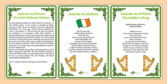 Amhrán na bhFiann Irish National Anthem Brief History and Lyrics - gaeilge, irish, amhran na bhfiann, irish national anthem, brief history, lyrics