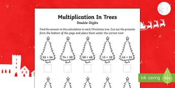 Double digit multiplication Christmas Activity Sheet-Australia