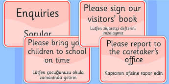 School Office Reception Signs EAL Turkish Version - EAL display