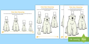 Polar Bear Measuring in Cubes Differentiated Worksheet / Activity Sheets -  - The Arctic, Polar Regions, north pole, south pole, explorers, measure, measuring, measurement, rules