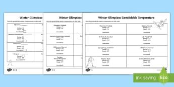 Winter Olimpiese Gasheer Stede Gemiddelde Temperature Gedifferensieerde Aktiwiteitsbladsye  - medalje, spele, span, lande, vlae, volkslied