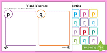 Lowercase 'p' and 'q' Confusing Letter Sort Activity  - Lowercase p and q Confusing Letter Sort Activity - letters, sorting, p, q, leters, p q confusion, le