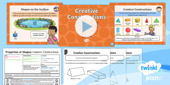 * NEW * PlanIt Maths Y2 Properties of Shapes Lesson Pack Surface Shapes (2)  -  3D shape, symmetry, 3D shape models, using and applying, nets, maths mastery, concrete, abstract, p