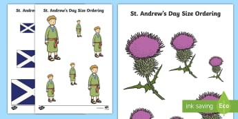 St. Andrew's Day Ordering Activity Sheet - order, size, measure, maths, events,Scottish, worksheet