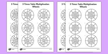 3 Times Table Multiplication Wheels Activity Sheet Pack - times table, multiplication wheel, multiply, activity sheet, worksheet, 3