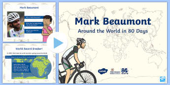 KS1 Around the World in 80 Days Information PowerPoint - Mark Beaumont, cycle, cycling, bike, bicycle, challenge, adventure, goal, target, setting, World Rec
