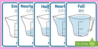 Capacity Display Posters English/Mandarin Chinese - capacity, jugs, measurement, Years 1-3, maths