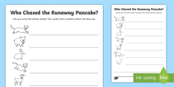Who Chased the Runaway Pancake? Worksheet / Activity Sheet - EYFS, Early Years, The Runaway Pancake, traditional tales, pancake day, Shrove Tuesday, Literacy, wr