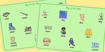 SC, SK Word Mats - sc, sk, sound, word mats, word, mats, syllable