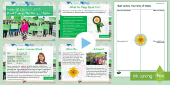 Plaid Cymru: The Party of Wales Information PowerPoint Pack - Leanne Wood, manifesto, history, politics, vote, prime minister, member of parliament, Welsh Assembl