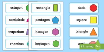 2D Shape Word Cards - 2D Shape names, Shape Flashcards, Shape Pictures, Shape Words, 2D flashcards, numeracy, geometry, shapes, 2d, flash cards