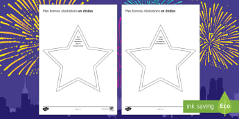 New Year's Resolutions Star Writing Activity Sheet French - New Year , nouvel an, nouvelle année, résolution, resolution, writing, écrire, écriture,French