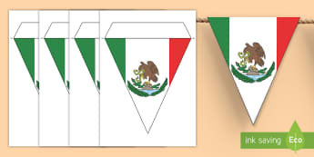 Mexican Flag Display Bunting - Mexico, Mexican Flag, Display, Bulletin Board, Social Studies, flags, triangles, North America